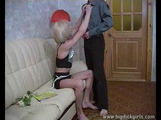 Randy guy drills blonde crossdresser