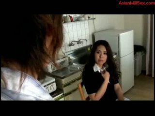 Milf fingered by young guy in the kitchen