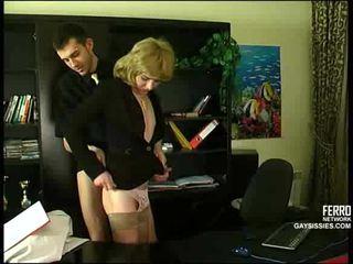 crossdresser, kontor, anal