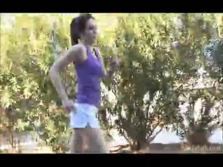 Aiden Running Outdoors With Her Shellort Off Then In The Undressed