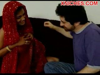 Indian with big tits sucks cock
