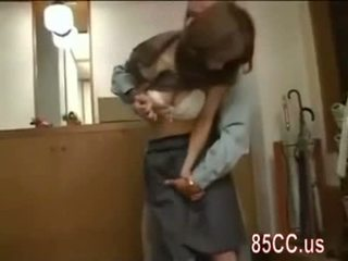 Mosaic: Nice boobs wife fucked by delivery man