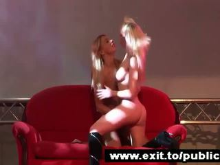 Public Lesbian Dildo Action 2 blonde beauties Video