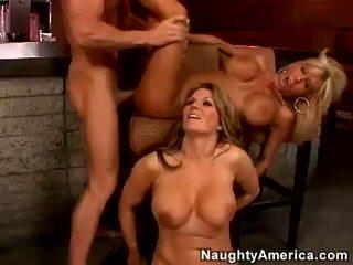 threesome, pornstars, bar