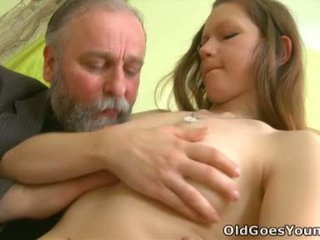 Naomi Looks The Unsure About The Aged Guy's Cock Sticking Out Inside Front Of Her