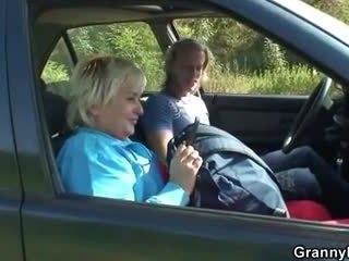 Granny getting pounded in the car