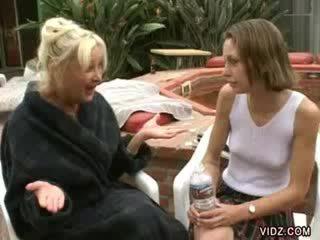 Granny Anastasia licks Vanessa's wet puss