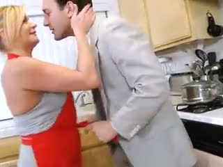 Ginger Lynn - Hardcore housewife rides cock in kitchen