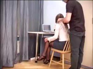 Secretary office sex in sheer crotchless hosiery