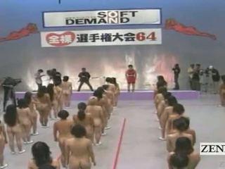Subtitled groot nudist groep van japans vrouwen stretching