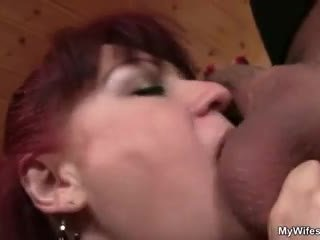 Lewd mother-in-law toying her shaved c...