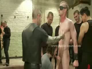 Extreme gay group sex gathering with sex slave tied and forced to fuck in rough sex