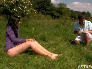 Outdoors blowjob and spooning