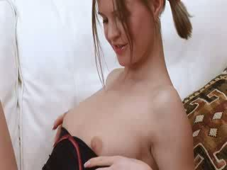 Fingering puss on the couch