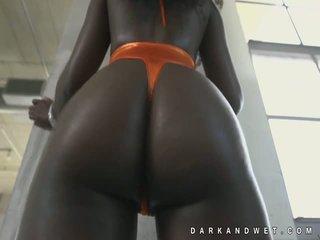 Jamaïque amende sombre noir nana chaud allumeuse