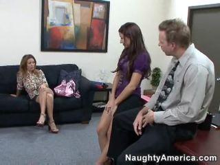 brunette, lick, office sex