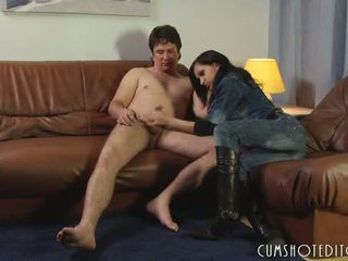 Young Brunette Slut Fucking A Guy With A Strap On