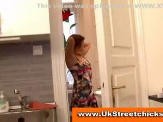Redhead babe shows old man her body