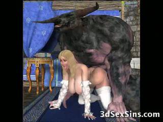 醜い creatures ファック 3d 女の子!