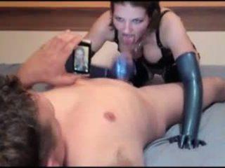 Látex schlampe alemão gaja blue látex luvas caralho: porno c5