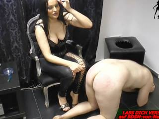 German Domina Slave Torture with Cigarette and Pain.