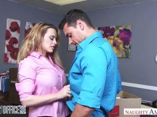 Busty Corinna Blake bangs her coworker on her last day - Naughty America