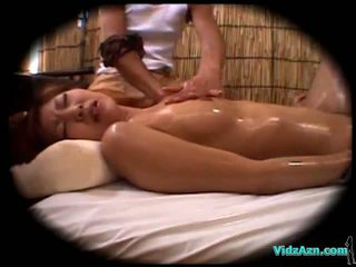 Asian Girl Massaged With Oil Sucking Cock Fucked By The Masseur Cum To Belly On The Mattress
