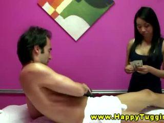 Real asian masseuse giving hot blowjob