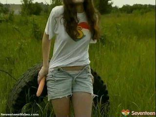 teens, masturbuje, vagína