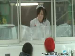 Horny japanese selling hotdogs