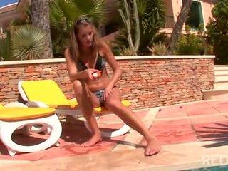 Solo teen pool masturbation under the sun