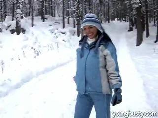 Brunette Masturbating In The Snow