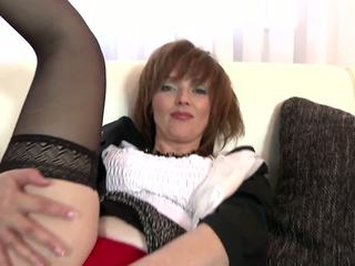 Real Amateur MILF in Black Stockings and Red Shoes: Porn 34