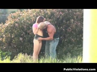 Busty babe fucked by horny daddy in public