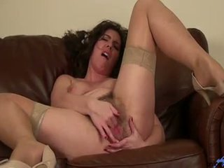 Amateur Milf Fingers Her Hairy Bush Pussy