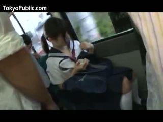 Japanska skola babes få cumshots offentlig