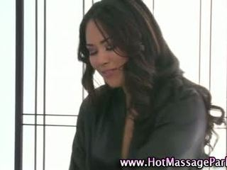 Sexy masseuse babe cock sucking
