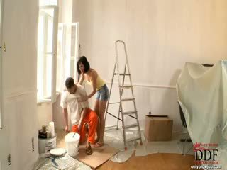 Abbie cat sucks the painter