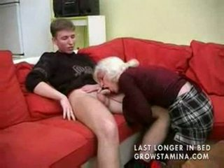 Granny with saggy tits gets fucked par...