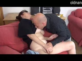 Horny granny blowjob with young man