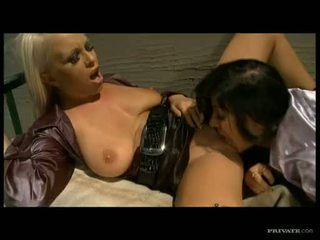 Lusty babe Angel Pink getting fucked from behind on a threesome jail fuck