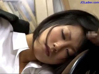 Office Lady Sleeping On The Chair Getting Her Mouth Fucked Licking Guy Cock In The Office