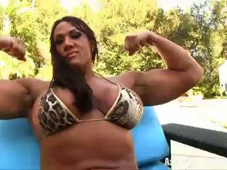 Aziani Iron Amber Deluca female bodybuilder in tiny bikini
