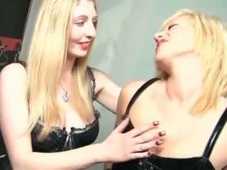 BDSM dirty blonde s in latex oiling sexy bodies