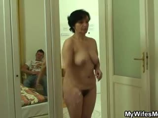 Son-in-law drills her old hairy snatch