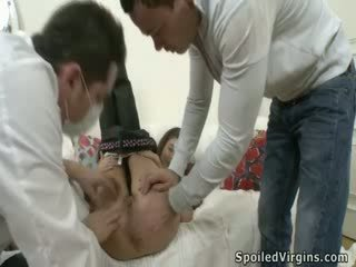 Cute babe deflowered with the first stroke of stiff cock.