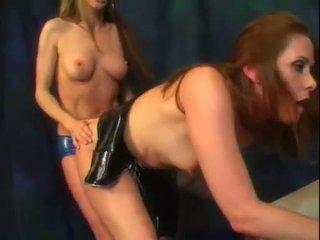 lesbiana diversión, látex más, strapon ver