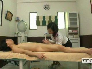 Subtitled bekläs kvinnlig naken hane japanska massagen med sensuellt avrunkning