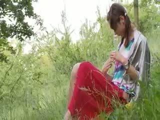 bebê, ao ar livre, adolescente