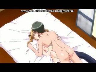 Anime teen girl makes fun fuck in bed